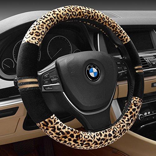 Inebiz, elegante coprivolante, leopardato, quattro stagioni, in velluto, 38,1cm, universale per auto e camion