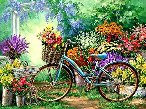 CCEEBDTO Puzzle 1500 Pièces 3D en Bois pour Adulte Vélo dans Les Fleurs Education Learning for Kids Gift Cadeaux De Noël Décor À La Maison 87X57Cm