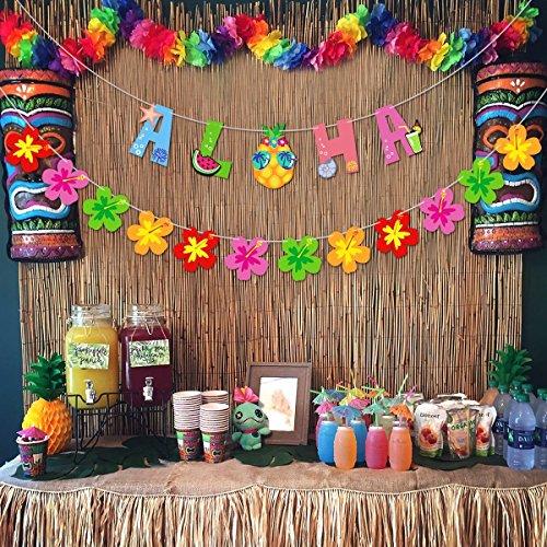 Unomor Aloha Hawaii Party Banner Deko, 12pcs Blumen Banner for Hawaii Beach Party Dekoration