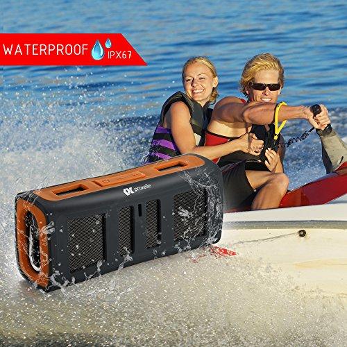 Altavoces Estéreo Bluetooth resistente al agua   Excelente para ducha  hogar y al aire libre   Mini  portátil  resistente  a prueba de golpes y/o arena   Transmisión inalámbrica de música desde cualquier lugar. (Naranja)