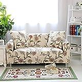 HYSENM 1/2/3/4 Sitzer Sofabezug Sofaüberwurf Stretch weich elastisch farbecht Blumen-Muster, Beige 2 Sitzer 145-185cm
