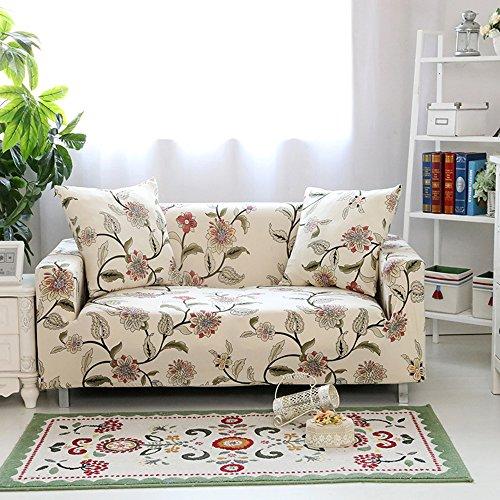 HYSENM 1/2/3/4 Sitzer Sofabezug Sofaüberwurf Stretch weich elastisch farbecht Blumen-Muster
