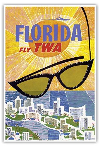 Florida Vintage Anzeigen (Florida - Flieg TWA (Trans World Airlines) - Vintage Retro Fluggesellschaft Reise Plakat Poster von David Klein c.1955 - Kunstdruck - 33cm x 48cm)