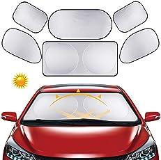 Auto-Windschutzscheiben-Sonnenschutz – faltbarer Auto-Sonnenschutz, UV-Reflektoren Sonnenblende Hitzeschutz für Kinder.Babys und Hunde, 6 Stück, 1 * Sonnenschutz Frontscheibe, 4 * Sonnenschutz Seitenscheiben und 1 * Sonnenschutz Heckscheibe (Silber) ö