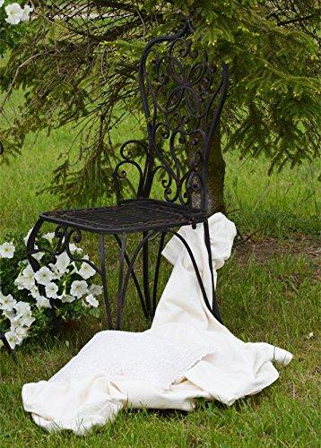 Gartenstuhl Gartensessel Sessel Eisen Eisenstuhl Braun Landhaus Gartenmobel 107 x 50 x 45 cm