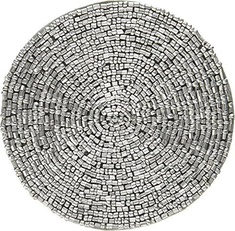 Edles Home Dekor Aus Indien Set Von 4 Glas Untersetzer Aus Silber-Perlen Durchmesser 10,16 Cm