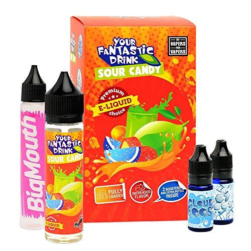 stic Drink Premium e-Liquid (Shake-and-Vape für e-Zigarette, 0,0 mg Nikotin) Sour Candy, 70 ml (50 ml Premiumliquid, 10 ml Cloud Boost und 10 ml Icy Boost) ()