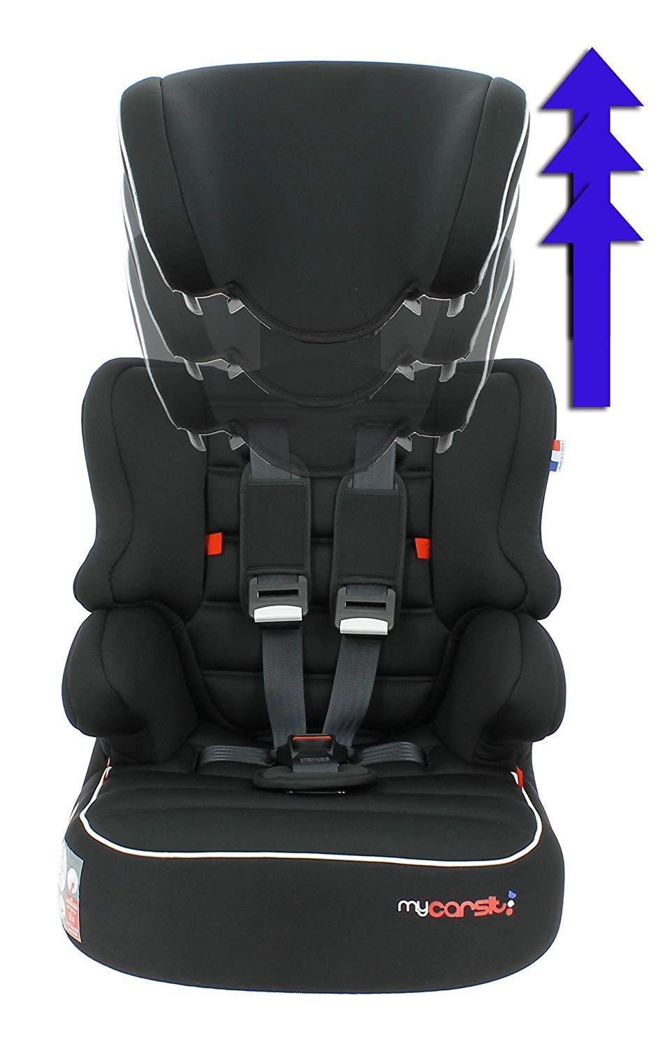 Child car seat Beline Grp 1/2/3 (9-36kg) with side protection - Nania Skyline black nania Booster seat with group 1/2/3 harness for children between 9 and 36 kg. The BELINE group 1/2/3 car seat is approved according to ECE R44/04 and is manufactured and tested in France. Beline car seat to transport your child in the car in complete safety. The car seat can only be installed facing the road in the back seat of the car. The car seat is secured with the 3-point seat belt and the child is secured with the 5-point harness. 2