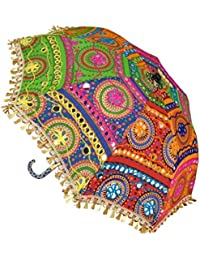 SUNJES Rajasthani Embroidery Work Foldable Cotton Beautiful Beautiful Travel Umbrella 21 X 24 Inches