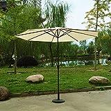 Kurbel Sonnenschirm Gartenschirm Terrasse Sonnenschutz Kurbelschirm Ø2,7m H2,5m, Gestell Aluminium/Stahl, ohne Schirmständer, ca. 5.2kg (Khaki)