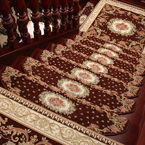 KEYAMA Acryl Innen Floral/Blumen Teppich Stufenmatte Treppenstufe Frei Tape Rutschfest Treppe Teppichbelag Teppich Treppe Deko Bereich Teppiche # 059 Set of 15 (9