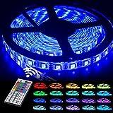 LED Streifen, RGB LED Strip 5M, GOLDPOOL Led Band 5M 5050 RGB 300er LEDs mit Fernbedienung 44 Tasten, Mehrfarbige Bänder für beleuchtung und Küche, unter Schrank, Terrasse, Balkon, Party und Haus Deko