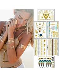Ndier 15pcs Tatouages Temporaire, Tatouages éphemères, 250+ Tatouages éphémères métalliques brillants, motifs varies