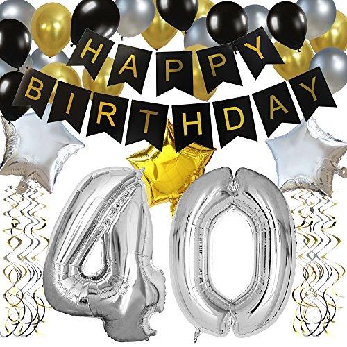 KUNGYO Clásico Decoración de Cumpleaños -'Happy Birthday' Bandera Negro;Número 40 Globo;Balloon de Látex&Estrella,Colgando Remolinos Partido para el Cumpleaños de 40 Años
