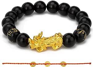 Fengshui Braccialetto con perline in giada da 8 mm, con il simbolo di Pi Xiu/Pi Yao dorato per attirare ricchezza e fortuna