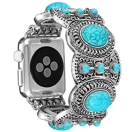 Fastgo für Apple Uhrenarmband im böhmischen Ethnischen Antike Stil mit Türkis Mode Iwatch Strap Für Serie 1 Serie 2 Alle Art (Antik Modeschmuck Stil)
