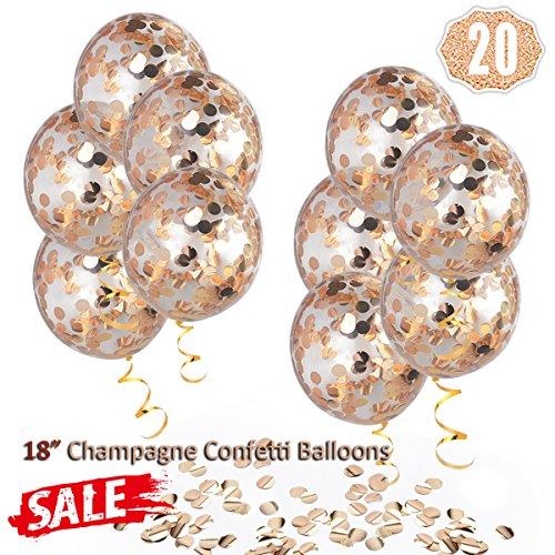 Globos de confeti de oro rosa de Champagne, grandes globos de fiesta de 45,7 cm Globos de champán transparente de látex con cinta de oro para boda, propuesta, decoraciones de fiesta de cumpleaños (paquete de 10)