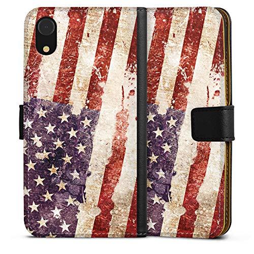 DeinDesign Tasche kompatibel mit Apple iPhone Xr Leder Flip Case Ledertasche United States of America Amerika Usa Flagge
