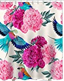 Printed & Designer Shower Curtain Full Size ( 66 x 72 ) with Rust proof Eyelet's . 100% Water Proof Latest trending Modern Design : Flowers and bird painting artworkREF : 1001