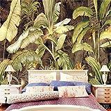 HUANGYAHUI Wandbilder Retro Tapeten Wandbild Regenwald Banana Leaf benutzerdefinierten Hintergrund Tapete Qiangbu Blatt Grün Pflanzen-120cmX100cm