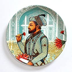 KOLOROBIA ROYAL MUGHAL EMPEROR SHAHNAHAN INSPIRED HOME DECOR WALL PLATE 10 INCHES