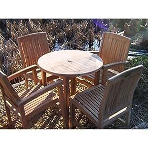 Bistrotisch mit 4 Stühlen, Natur, Holz, Teak Gartenmöbel, 4 Stühle + Bistrotisch, Heizpilz Set mit Esstisch und Stühlen