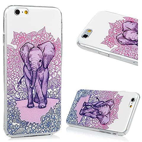 MAXFE.CO iPhone 6 Case iPhone 6S Case Full Body Clear PC Colorful Design Slim Soft Shockproof Thin Fit Scratch Resistant Drop Protector Cover For iPhone 6 iPhone 6S - Elephant Among