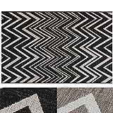 Design Teppich ZigZag | moderne Flachgewebe Teppiche mit Trend Zick Zack Muster | in 2 Größen für Wohnzimmer, Esszimmer, Schlafzimmer etc. | schwarz / creme 160x220 cm