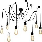 UFLIZOGH Lustres Araignée Suspension Luminaire Induistrielle 8 E27 Edison Lampe Abat-jour Réglable DIY Rétro Plafonnier pour