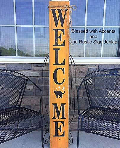 Monsety Willkommensschilder, Halloween, Willkommensschilder, Veranda, Wanddekoration, rustikal, Willkommen Schilder auf der Veranda, Willkommen Schilder aus Holz