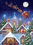 Adventskalender Weihnachtsmann Schlitten Nacht Glitzer Oberfläche