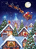 Advent Calendar Santa Sleigh Night Glitter Finish