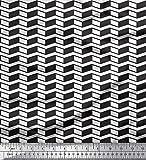 Soimoi Weiß Baumwolle Batist Stoff Fischgräte geometrisch