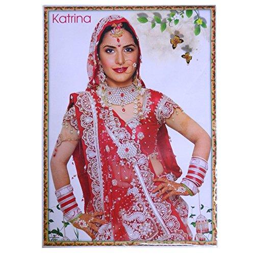 Poster Katrina Kaif rot weißer Sari 75 x 50 cm Bollywood Star Schauspielerin Hochglanzpapier Bild (Schönheit Sari)