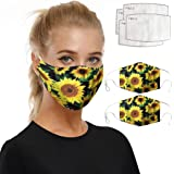 MAWOLY 3//5//11PC Unisex Cotton Washable Breathable with Filters Women Men Face Reusable Bandanas Replaceable Print Cover Balaclava AI1