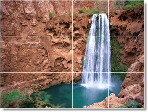 FOTOS DE CASCADAS COCINA TILE MURAL W099  18X 24CM CON (12) 6X 6AZULEJOS DE CERAMICA