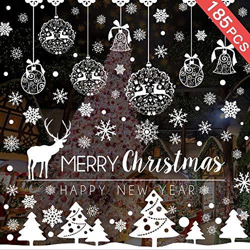 Caiery 185 pcs Schneeflocken Rentier Fensterbild, Statisch Haftende PVC Aufklebe, Winter-deko Weinachts Dekoration, Weihnachten Fenstersticker, Winter Deko Weihnachtsdeko