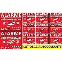 """Autocollant de dissuasion """"Alarme vidéo surveillance 24/24h"""" lot de 11 pièces en 2 tailles"""