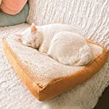 BoodTag Cat Bed Mat Pet Bed Mattress Creative Toast Bread Foam Cushion for Cute Animal Catty and Doggy Sleeping Playing Resting (Medium, White)