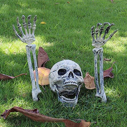 Kostüm Frau Herr Knochen Und - MONWSE Weihnachten Prop 100% Kunststoff Lebensechte Menschliche Knochen Schädel Figurine für Horror Halloween Party Dekoration