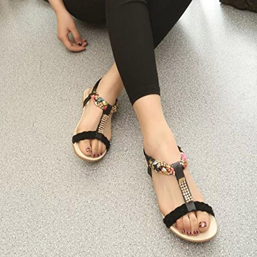 Hunpta Gummiband Frauen Sandalen Schuhe Casual Schuhe Sandalen Komfort Schwarz