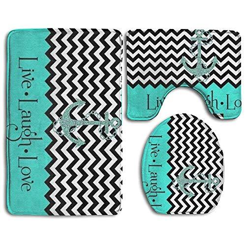 Meius Live Love Laugh in türkis Colorblock Chevron Anker 3-TLG Soft Bad Teppich Set inkl. Badteppich Contour Teppich Deckel WC-Deckelbezug Home Dekorative Fußmatte (Contour Braun Teppich Bad)