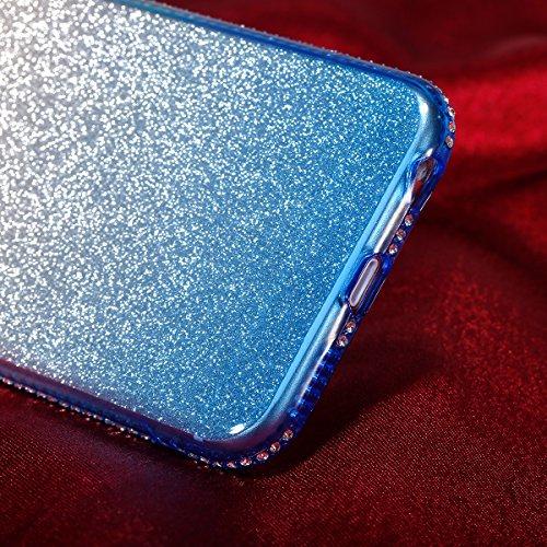 Coque iPhone 6S Plus,Coque iPhone 6 Plus,Étui iPhone 6S Plus / 6 Plus Case,ikasus® Layer 3 Crystal Clear dur PC & Souple Gel TPU & Glitter Stickers Case Cover Coque pour iPhone 6S Plus / 6 Plus Silico Bleu