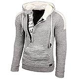 RUSTY NEAL Herren Jacke Strick-Pullover Strickjacke mit Kapuze RN-13290, Farbe:Grau / Weiß;Größe:S