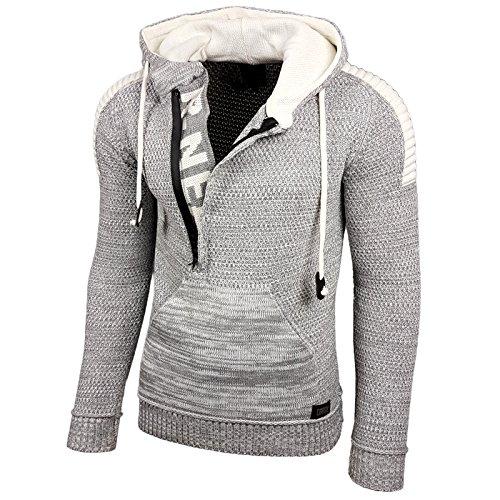 RUSTY NEAL Herren Jacke Strick-Pullover Strickjacke mit Kapuze RN-13290, Farbe:Grau / Weiß;Größe:XL