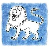 Artland Qualitätsbilder I Wandbilder Selbstklebende Wandfolie 30 x 30 cm Fantasy Mythologie Sternzeichen Malerei Blau A8TO Serie Sternzeichen Löwe