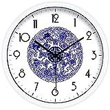 Arte creativo sencillo Azul y blanco reloj de salon moderno reloj de pared reloj reloj de cuarzo,Diámetro 35 cm
