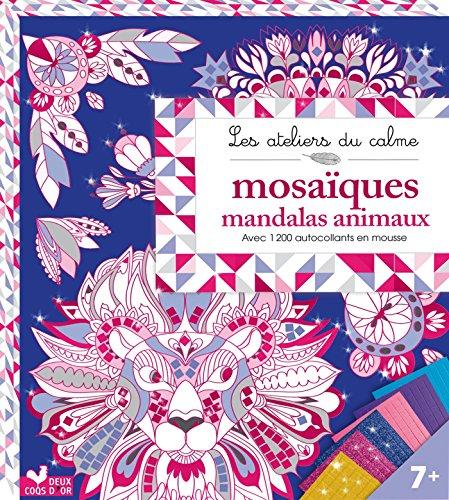 mosaiques mandalas animaux - pochette avec accessoire