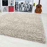 SMALL - EXTRA LARGE SIZE THICK MODERN PLAIN NON SHED SOFT SHAGGY RUG REC & ROUND, Size:200x290 cm;Color:Beige