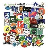 Sanmatic 50Pcs Laptop Aufkleber für Entwickler Programmiersprache gehören Aufkleber IT-Logo, C ++, Python, Linux, Swift, für Geeks, Ingenieure, Hacker, Geeks, Coder